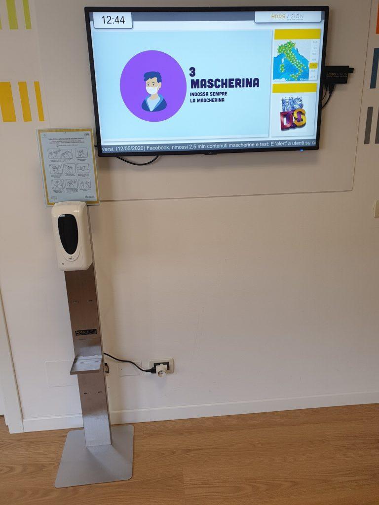 Piantana con dispenser gel disinfettante - HDDS Vision